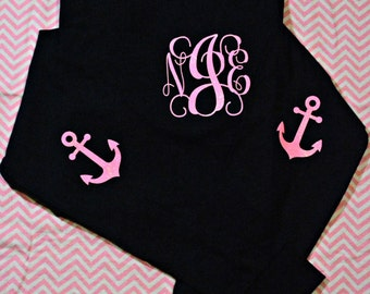 Personalized Shirt LONG SLEEVE (Adult) Navy Shirt, Neon Pink Glitter