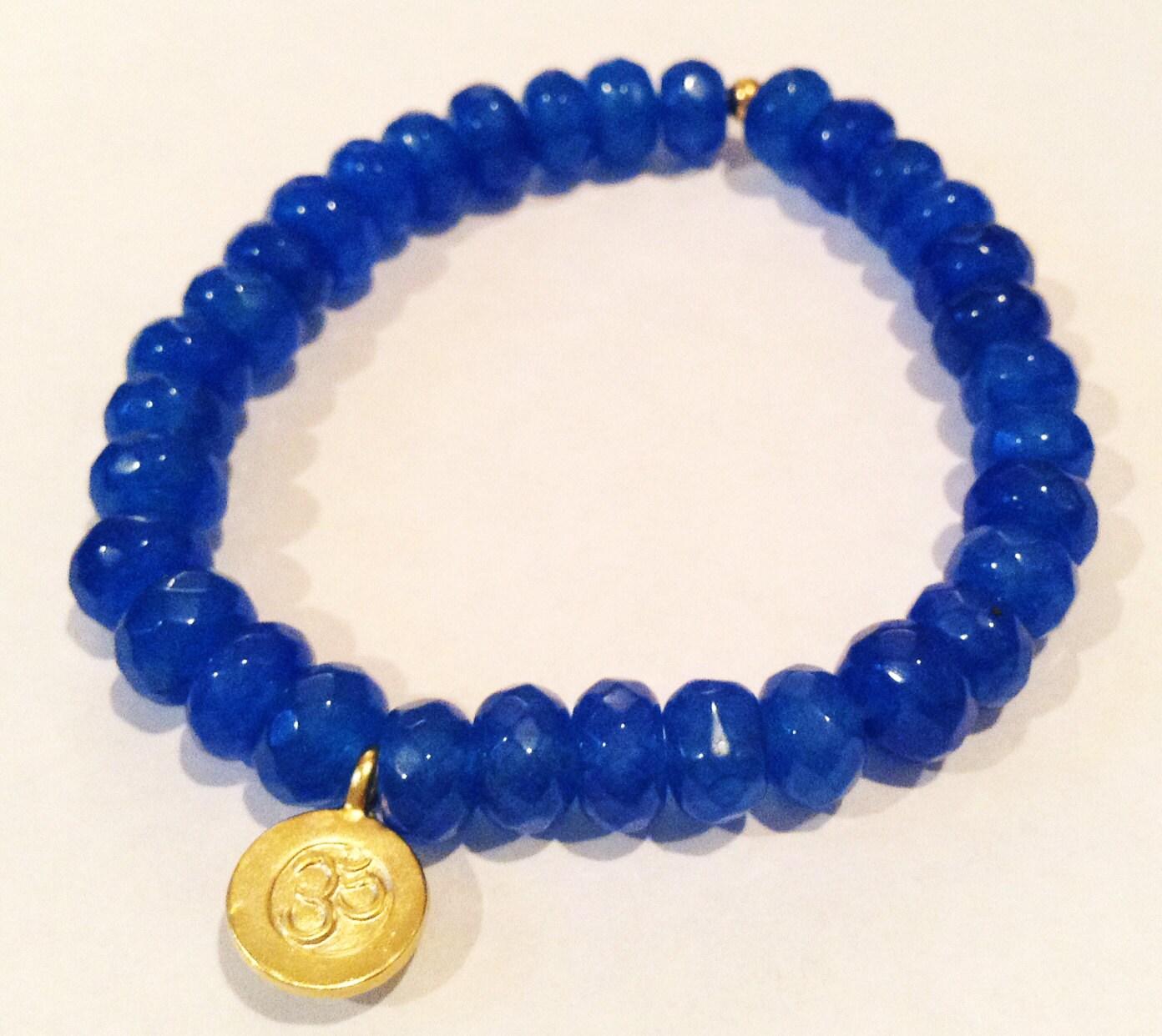 Jade Bracelet Beads: Blue JADE Bead Stretch BRACELET With Gold By SummerStoneDesign
