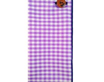 Light Purple and White Gingham Pocket Square