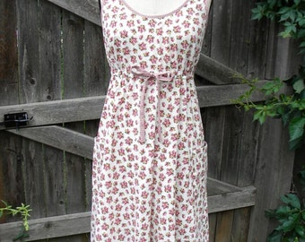 One of a kind floral cotton sleeveless dress in Medium