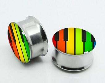 Rainbow Keyboard  Plugs,-PAIRS 2PCS Steel Double Flare Tunnels Ear Plugs Earlets Gauges