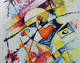 Original painting, modern art, modern abstract art yellow blue red orange