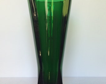 Vintage Emerald Green Art Glass Vase
