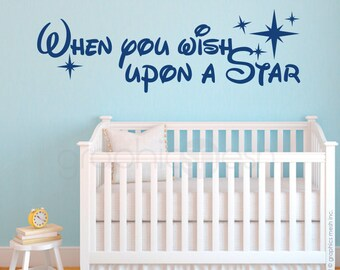 Quote wall decal - When you wish upon a star - Vinyl lettering - Surface graphics interior decor by Graphics Mesh
