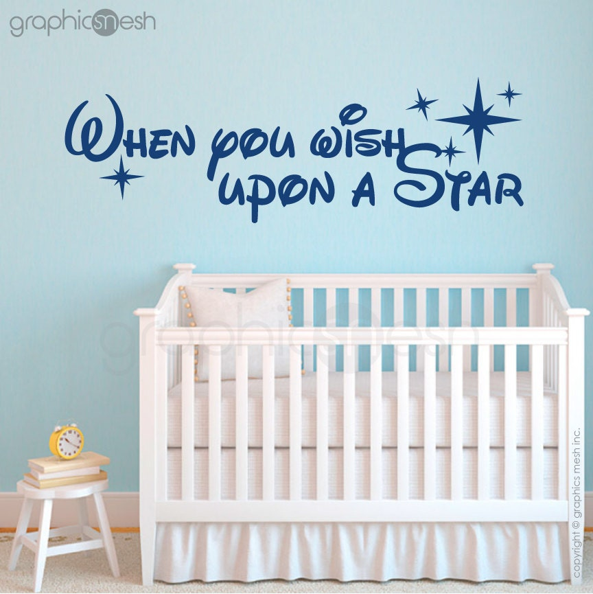 quote wall decal when you wish upon a star vinyl lettering when you wish upon a star stickers when you wish upon a