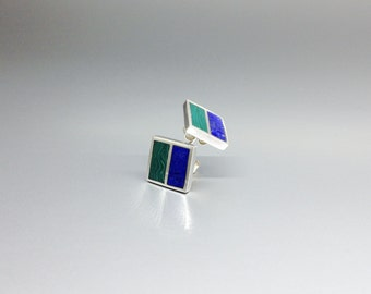 Malachite and Lapis Lazuli stud earrings with geometrical design and inlay work Sterling silver - gift idea - square earrings - dual color