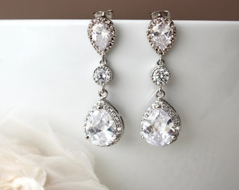 Crystal Wedding Earrings Long Bridal Earrings Crystal Dangle Drop Earrings Silver Bridal Jewelry Cubic Zirconia Earrings Wedding Jewelry