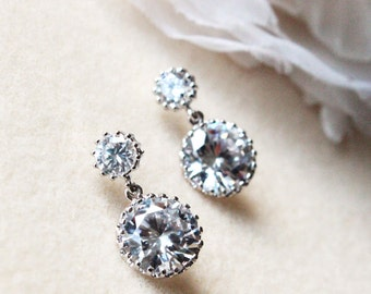 Crystal Wedding Earrings Bridal Earrings Bridesmaid Earrings Silver Round Cubic Zirconia Post Earrings Bridesmaid Gift Wedding Jewelry