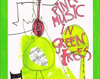 pink music in green trees: original painting, mixed media on  paper on painted canvas (30x24 cm)