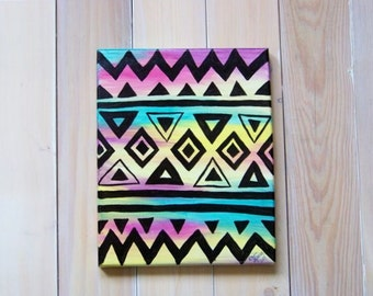 """Multi-Colored Aztec Print Original Acrylic Painting on 8""""x10"""" Stretched Canvas"""