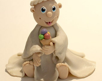 Clay Art Cake Decoration : Polymer Clay Irish Wizard Figurine good for Decoration