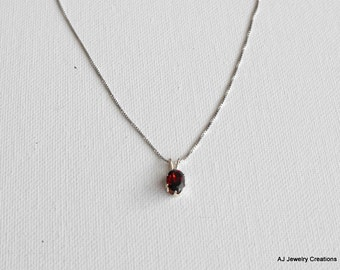 Garnet and Sterling Silver Necklace - Sterling Silver Chain (GS-362)