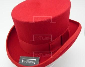 VINTAGE Wool Felt Formal Tuxedo Topper Top Hat for Children / Kids - Red