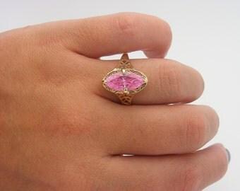 Vintage Pink Ice Ring. 10K Yellow Gold