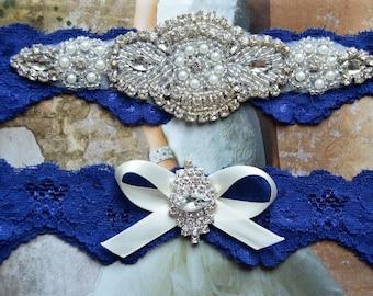 Bridal Garter, Wedding Garter Set, Stretch Lace Garter, Rhinestone Crystal Bridal Garter, Catherine Style 10822