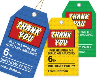 Building Block Thank You Tags - 3 Colors / Printable / Gift Tag / Personalized