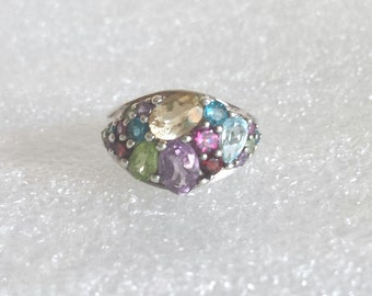 vintage multi cz gemstone 925 sterling silver Ring size 7  W 6.60g