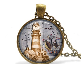 Nautical Light House Necklace, Light House Art, Nautical Art, Nautical Necklace, Nautical Ship Necklace, Ocean Jewelry Necklace Pendant