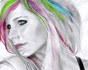 Avril Lavigne 11x6 in. Graphite & Pastel Drawing on Paper, 2012