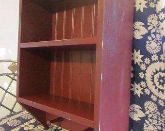 Hand Made Primitive Cranberry Red Distressed Open Hanging Jelly Cupboard or Shelf