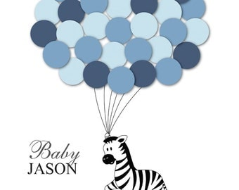 Baby Shower Guestbook Alternative Zebra Children Kids Birthday Balloons Poster Print Guest Sign Personalized Unique DIGITAL FILE ONLY!