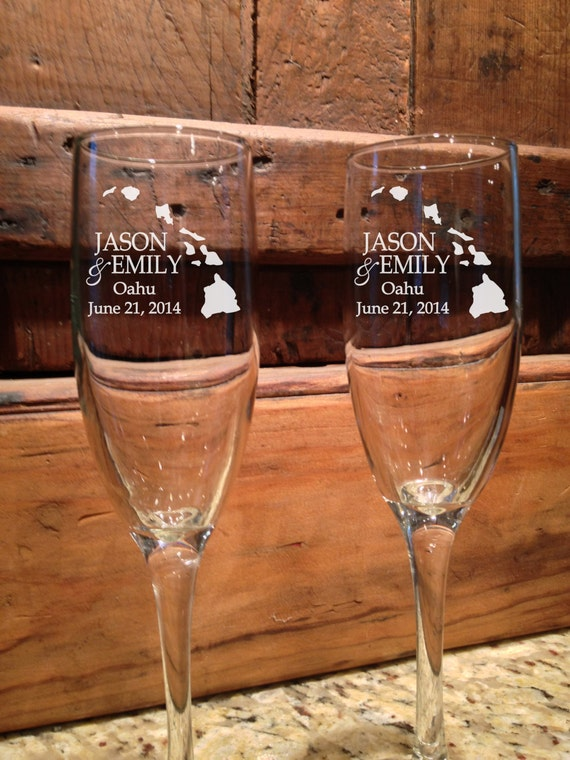 flutes personalized wedding hawaii wedding wedding toasting glasses