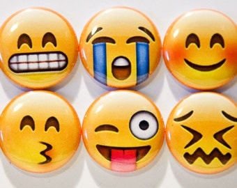 "Set of 10 Emoji Faces 1"" Pinback Buttons (Set #1)"