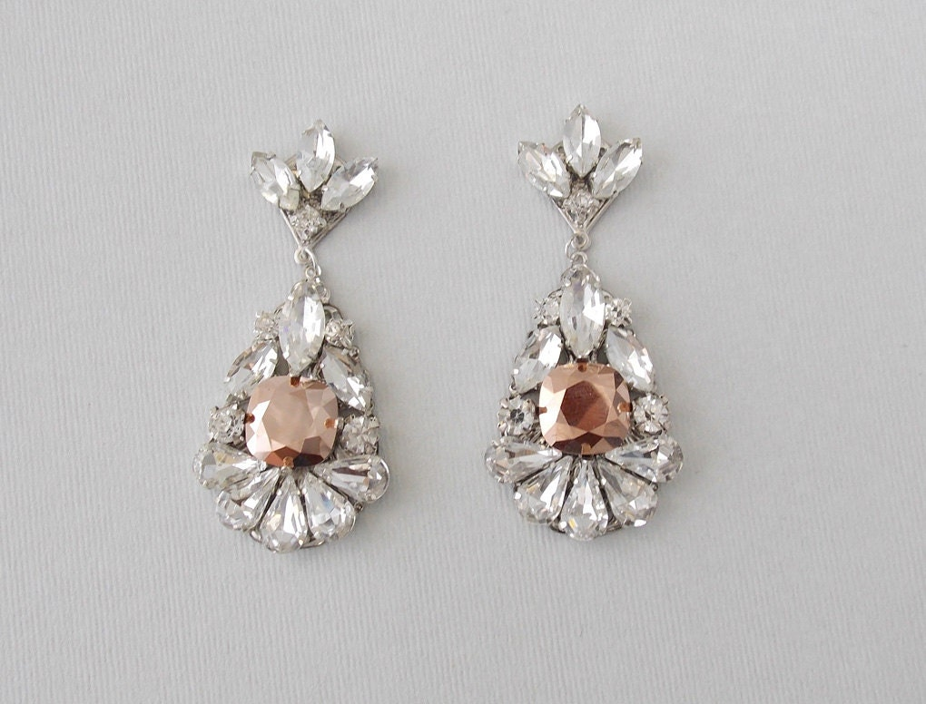 Bridal Earrings Rose Gold Earrings Wedding Earrings Vintage