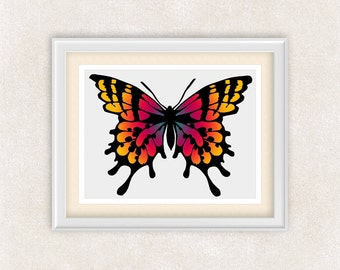 Monarch Butterfly Print in Red & Orange - Home Wall Art - 8x10 Print - Butterfly Home Decor - Item #547A