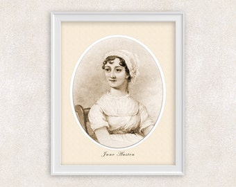 Jane Austen Art Print Portrait - 8x10 PRINT - Novelist - Author of Pride & Prejudice - Item #534