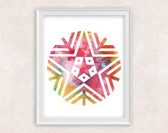 Snowflake Watercolor Print - Modern Minimalist Art - Home Decor 8x10 PRINT - Item #729B