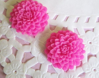 Hot Pink 25mm Flower Cabochons, Lovely Chrysanthemum Cabs, E248