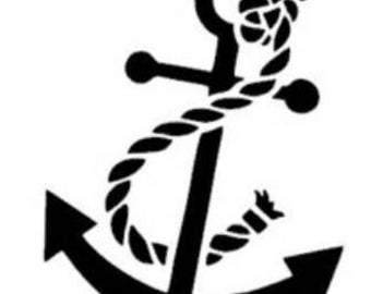 anchor decal with rope 5 inches