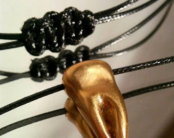 Metal Tooth Necklace.  Molar Hand sculpted and casted in solid brass.