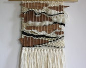 Hand Woven Wall Hanging Weaving with Natural Bark