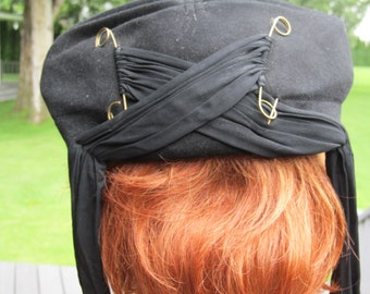 1930s  Black Wool Hat with Oversized Safety Pins