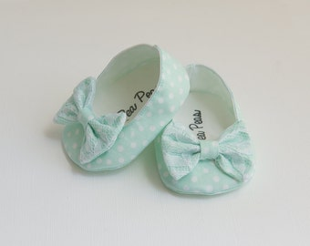 Baby Shoes Baby Girls Shoes Toddler Girls Shoes Soft Sole Shoes Spring Shoes Summer Shoes Mint Polka Dot Shoes Lace Bow Shoes