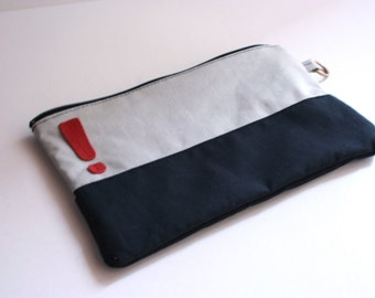Cotton pouch with Zip-Pearl Grey, black red &!