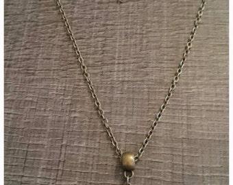 Bronze bird necklace purple