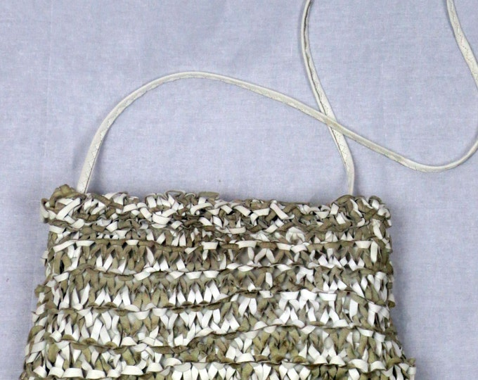 70s disco studio 54 hand knit leather clutch