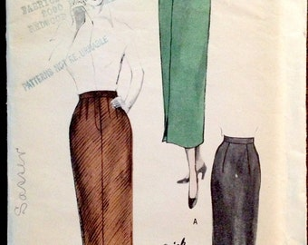 Butterick 5085 - 1940s Slim Fit One Yard Skirt with Fly Front - Size 30