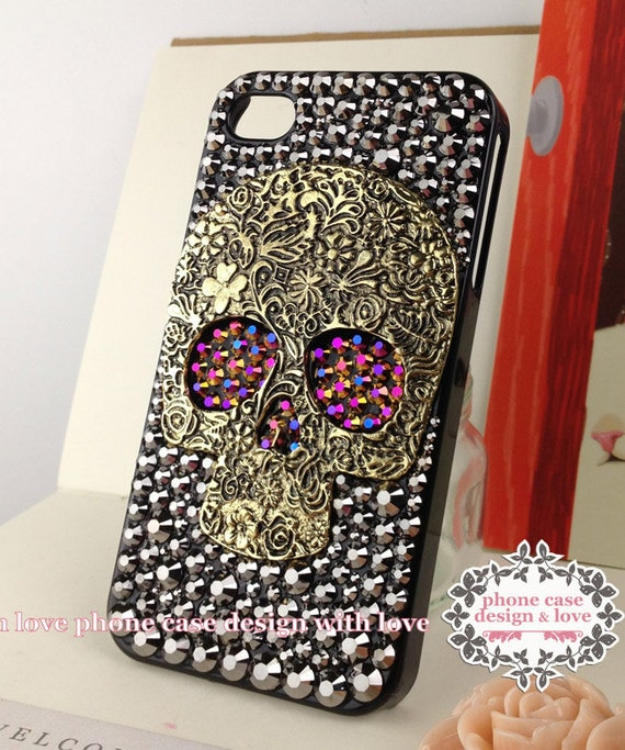 Studded iPhone 6 iPhone 6 Plus iPhone 5s Case iPhone 5 Case Studded Skull Bling iPhone Case Cover Studded With Chameleon Gold / Purple Eyes