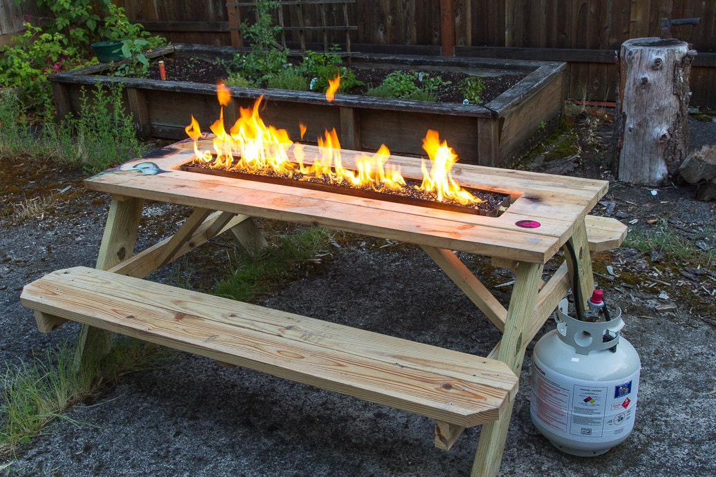 Fire Pit Picnic Table by ArsonForHire on Etsy
