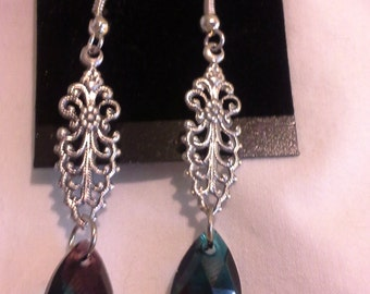 Victorian Inspired Earrings With Crystals = E 136