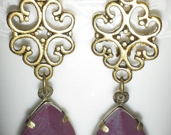 Victorian Inspired Plum Quartz Earrings = E151
