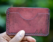 Plum Pine Trees Leather Wallet