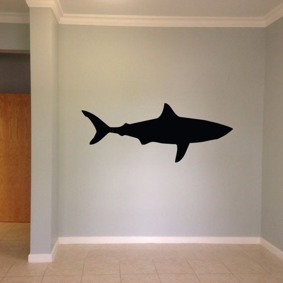 shark wall vinyl decal sticker family kids by lighthousedecals. Black Bedroom Furniture Sets. Home Design Ideas