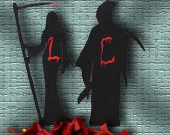Offbeat Wedding Cake Topper - Mr and Mrs Grim Reaper - Gothic Cake Topper - Personalized Gothic Cake Topper - Offbeat Wedding - LuckyBee