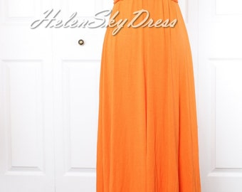 Convertible Infinity long Wrap dress one shoulder Bridesmaids Dress in Orange