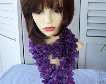 Hand Knitted Purple Samba Frilly Scarf - Free Shipping